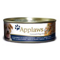 Konzerva APPLAWS dog kuřecí maso, losos a zelenina 156 g