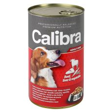 Konzerva Calibra Dog Adult hovězí, játra a zelenina v želé, 1240 g