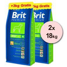 Brit Premium Adult XL 2 x 15kg + 6 kg GRATIS