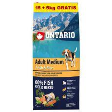 ONTARIO Adult Medium 7 Fish & Rice 15+5kg ZDARMA