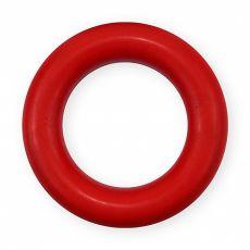 Kroužek pro psa z tvrdé gumy – červený, 9 cm