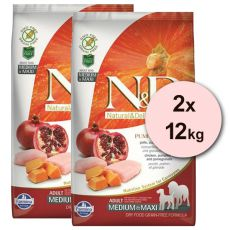 Farmina N&D dog GF PUMPKIN adult medium/maxi, chicken & pomegranate – 2 x 12 kg