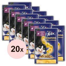Felix Sensations - kachna a špenát v želé, 20 x 100 g