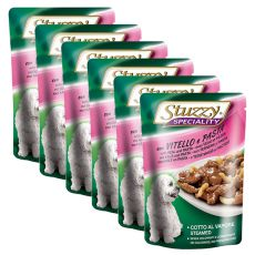 Stuzzy Speciality Dog – telecí s těstovinou, 6 x 100 g