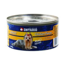 Konzerva ONTARIO Adult pro psa, kuřecí kousky + žaludky, 200 g