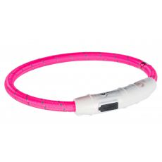 Svítící LED obojek M-L, růžový 45 cm