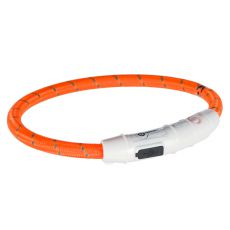 Svítící LED obojek M-L, oranžový 45 cm