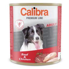 Konzerva CALIBRA Premium Adult – hovězí a kuře, 800 g
