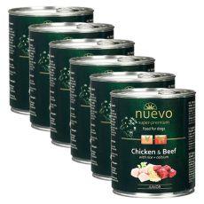 Konzerva NUEVO DOG Junior Chicken & Beef 6 x 800 g
