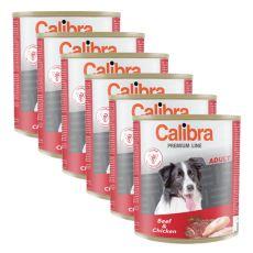 Konzerva CALIBRA Premium Adult – hovězí a kuře, 6 x 800 g, 5 + 1 GRATIS