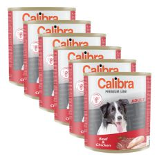 Konzerva CALIBRA Premium Adult – hovězí a kuře, 6 x 800 g