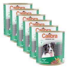 Konzerva CALIBRA Premium Adult – hovězí a zelenina, 6 x 800 g