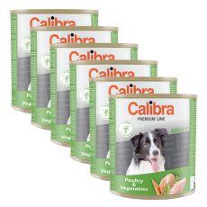 Konzerva CALIBRA Premium Adult – drůbež a zelenina, 6 x 800 g, 5 + 1 GRATIS