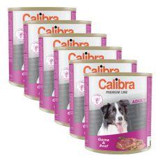 Konzerva CALIBRA Premium Adult – zvěřina a hovězí, 6 x 800 g