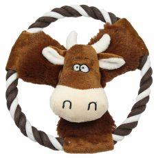 Plyšová pískací kráva na laně, 20 cm