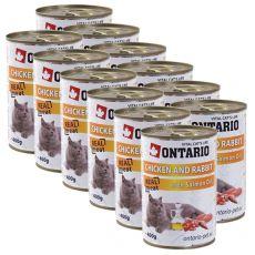 ONTARIO Konzerva pro kočku - kuřecí, králičí a olej - 12 x 400 g