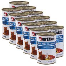 ONTARIO Konzerva pro kočku - hovězí, losos a olej - 12 x 400 g