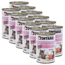ONTARIO Kitten Konzerva - kuřecí, krevety, rýže a olej - 12 x 400 g