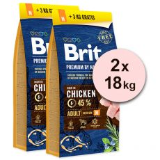 Brit Premium by Nature Adult Medium 2 x 15 kg + 6kg GRATIS