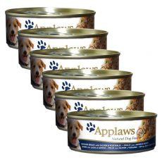 Konzerva APPLAWS dog kuřecí maso, losos a zelenina, 6 x 156g