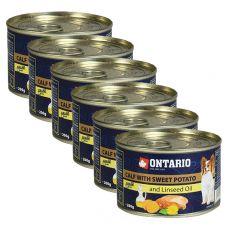 Konzerva ONTARIO Telecí se sladkým bramborem a lněným olejem – 6 x 200 g