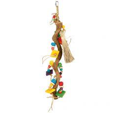 Hračka pro ptáky – větev s hračkami, 49 cm