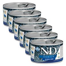 Farmina N&D dog Sea Bass & Squid konzerva 6 x 140 g, 5+1 GRATIS