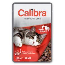 CALIBRA Cat Adult kuřecí a hovězí kousky v omáčce 100 g