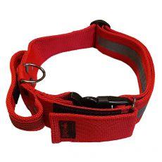 Červený bezpečnostní obojek s rukojetí 40–65 cm, 40 mm