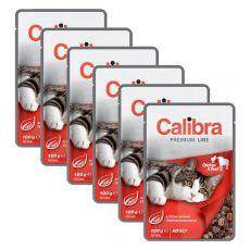CALIBRA Cat Adult kuřecí a hovězí kousky v omáčce 6 x 100 g
