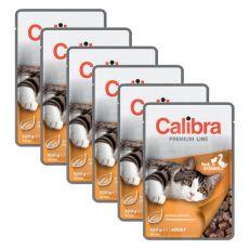 CALIBRA Cat Adult kachní a kuřecí kousky v omáčce 6 x 100 g