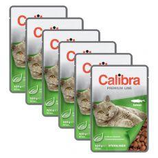 CALIBRA Cat Adult Sterilised kousky s lososem v omáčce 6 x 100 g