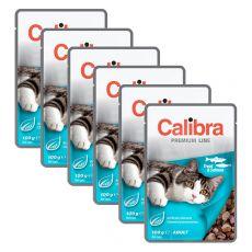 CALIBRA Cat Adult kousky se pstruhem a lososem v omáčce 6 x 100 g
