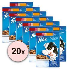 Kapsičky FELIX Fantastic Duo – hovězí a drůbež v želé, 20 x 100 g