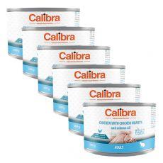 Calibra Cat Adult GF – Kuře a kuřecí srdce s lososovým olejem, konzerva 6 x 200g