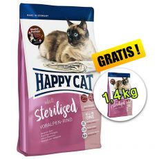 Happy Cat Sterilised Voralpen Rind / Hovězí 1,4 kg + 1,4 kg GRATIS