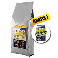 ONTARIO Senior Mini Lamb & Rice 7,5 kg + 0,75 kg GRATIS