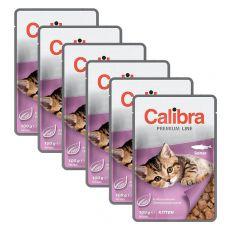 CALIBRA Cat Kitten kousky s lososem v omáčce 6 x 100 g