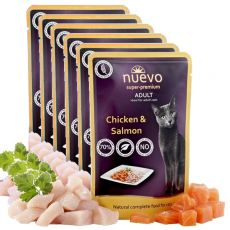 Kapsička NUEVO CAT Adult Chicken & Salmon 6 x 85 g, 5 + 1 GRATIS
