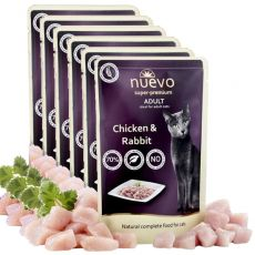 Kapsička NUEVO CAT Adult Chicken & Rabbit 6 x 85 g, 5 + 1 GRATIS