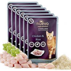 Kapsička NUEVO CAT Sterilised Chicken & Rice 6 x 85 g, 5 + 1 GRATIS