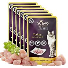 Kapsička NUEVO CAT Sensitive Turkey Monoprotein 6 x 85 g, 5 + 1 GRATIS