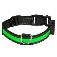 Svítící USB obojek EYENIMAL, zelený L