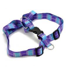 Postroj pro psa – károvaný fialovomodrý S 1,6 x 30–45 cm