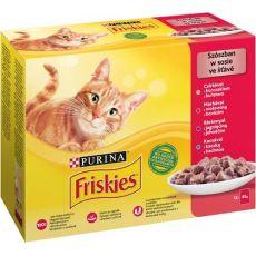 Kapsičky Friskies Cat kuře, hovězí, jehněčí a kachna ve šťávě 12 x 85 g