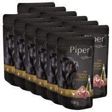Kapsička Piper Adult s kuřecími srdci a hnědou rýží 12 x 150 g
