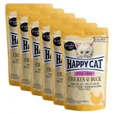 Kapsička Happy Cat ALL MEAT Kitten Junior Chicken & Duck 6 x 85 g