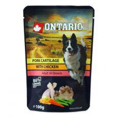 Kapsička ONTARIO DOG Pork cartilage with Chicken in broth 100 g