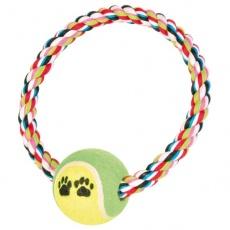 Bavlněný provaz ve tvaru kruhu s tenisovým míčkem - 18 cm