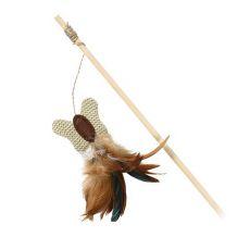 Hračka pro kočku - motýlek na dřevěné tyčce